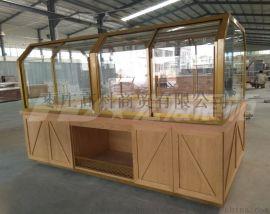 新款木质面包中岛展示柜-面包展示柜厂家--宏发展柜