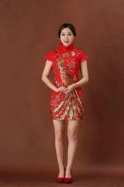 新年夹棉旗袍中式连衣裙