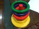 儿童套圈投掷彩虹圈圈 PU皮益智玩具彩虹叠叠乐 传统玩具套圈圈