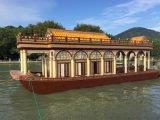 陝西木船廠家出售山西豪華畫舫船大型表演餐飲船觀光船