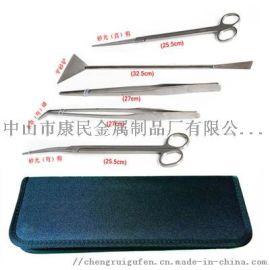 不鏽鋼水草直彎波浪剪刀夾子鑷子平砂鏟/刮藻刀工具架