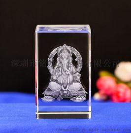 泰国象神水晶内雕纪念品,印度教  神像水晶内雕纪念品摆件定做