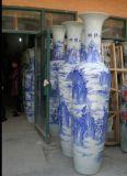 西安开业陶瓷大花瓶 青花山水陶瓷1米8花瓶批发