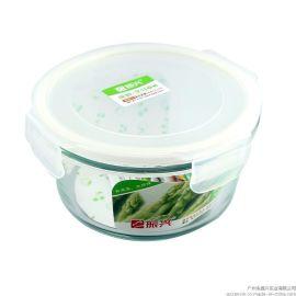 振兴BX6191 700ml圆形保鲜盒/高硼硅耐热玻璃饭盒/微波炉烤箱用