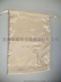惠州手袋厂专业定做抽绳鞋袋 色丁布束口袋厂家