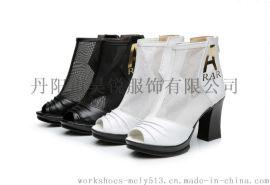 9861款女鞋靴子春秋短靴网靴真皮镂空靴高跟单靴凉靴鱼嘴
