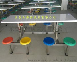 KS-6人位食堂餐桌-学校不锈钢连体餐桌