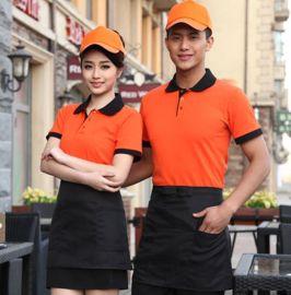 夏季新款韩版快餐店餐饮餐厅连锁快餐店服务员翻领T恤短袖印logo