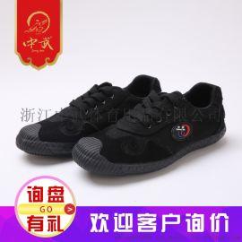 中武头层皮帆布武术鞋黑色训练鞋成人厂家直销