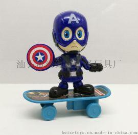 Q版复仇者联盟公仔钢铁侠雷神绿巨人美国队长手办模型滑板回力车 呆萌公仔