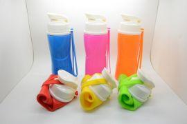 500ml创意彩虹色户外旅行硅胶杯便携水杯