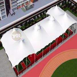 体育馆网球场膜结构遮阳雨篷 羽毛球场膜结构遮阳蓬
