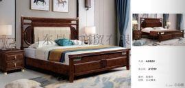 现代简约实木家具床,新中式床,欧式床