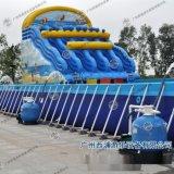 水上樂園設備充氣水上滑梯充氣藍色海洋彩虹滑梯支架游泳池滑梯