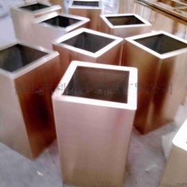 供应镀铜201材质方形不锈钢花盆 酒店装饰花盆