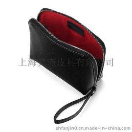上海定做女式手拿包,真皮十字纹女包