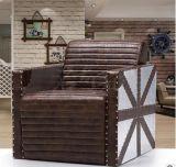 铆钉铝皮做旧工业风格北欧客厅家具组合loft美式复古真皮沙发定制
