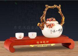 金属创意梅花珐琅彩茶具配件加工定制