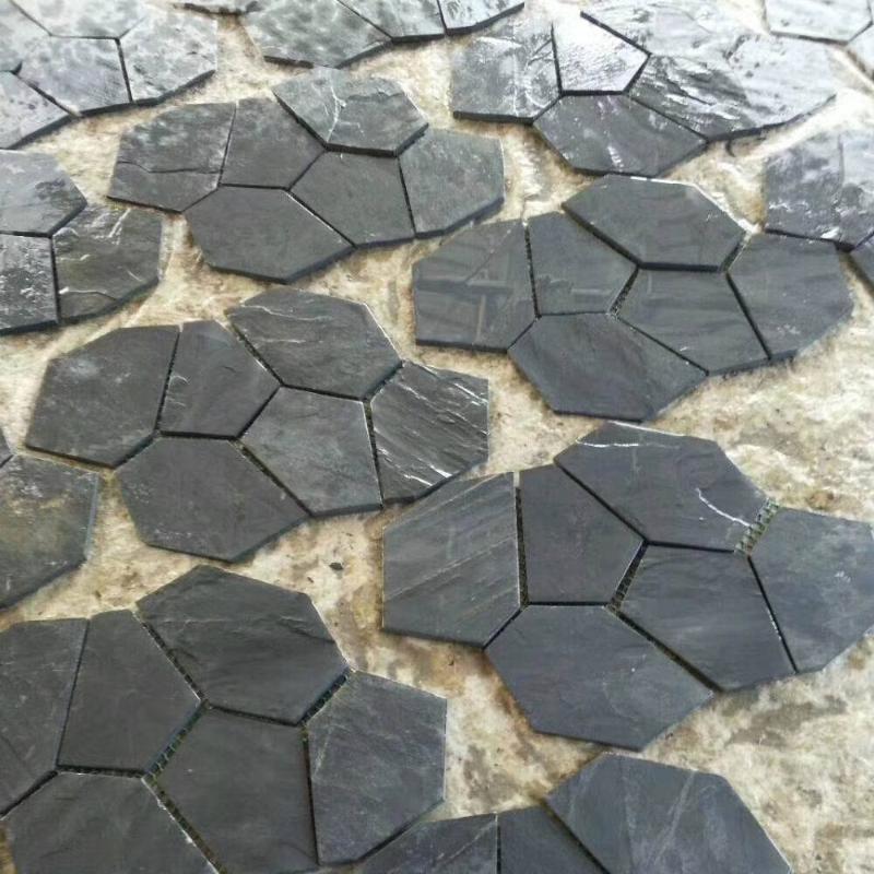黑色冰裂紋石材庭院人行道青石板冰裂紋板岩龜裂紋碎拼文化石圖片
