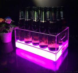 亚克力发光冰桶 有机玻璃酒吧LED酒桶展示架