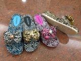 廠家供應女款時尚豹紋蝴蝶結拖鞋