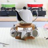 欧式简约陶瓷茶具套装  银色镀银陶瓷茶壶茶壶茶具套装纯白白瓷