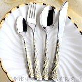 出口西餐食具不鏽  叉勺三件套 西餐刀叉牛排刀叉套裝創意食具