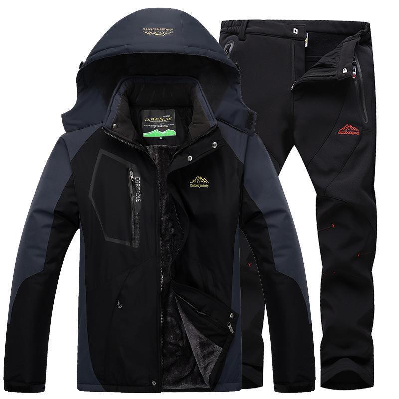 戶外衝鋒衣男冬季加絨加厚衝鋒褲套裝棉服外套