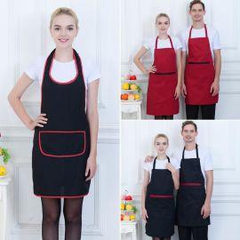 奶茶快餐店工作服务员挂脖围裙 广告围裙定制印logo 厨师防污围裙