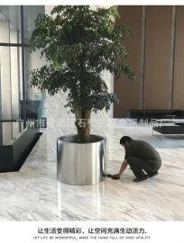 不锈钢亮光面花盆花箱 圆形花箱定制厂家 广州不锈钢花盆花钵花器