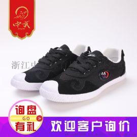 中武头层皮帆布武术鞋黑色白底训练鞋成人厂家直销