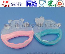 食品级硅胶透明婴幼儿牙胶 卡通宝宝硅胶磨牙棒磨牙器