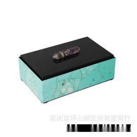 现代中式长方形首饰盒天然石料绿色松石木质天然结晶石饰品收纳盒