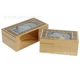 不锈钢金属金色长方形树年轮玻璃首饰收纳盒样板间软装摆件欧式