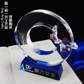梅花水晶琉璃獎牌 廣州獎牌表彰紀念品 辦公擺件訂制