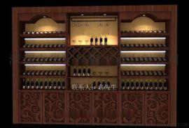 深圳红酒店面装修设计,红酒展柜订做,深圳红酒展示柜