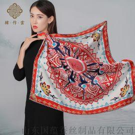 真丝围巾定制logo印花染色加工工厂