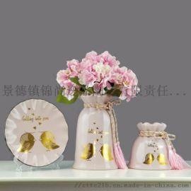 景德镇陶瓷花瓶三件套定制 家居工艺品花瓶摆件