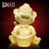 绒沙金猴子摆件 高档千足金猴年礼品吉祥如意 银行保险赠品 公司开业礼品 定制logo