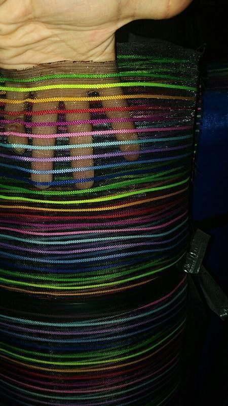彩条纹沙网布彩条沙网尼龙格纱网彩条提花网料家居用品购物袋用料