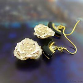 【以爱之名】黛雅24K镀金玫瑰花耳环 镀金玫瑰花耳环女款(款式四)厂家批发