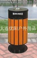 公共钢木垃圾桶、不锈钢垃圾桶