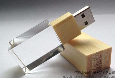竹木方形發光水晶U盤,創意USB,定製U盤找信誠優盤
