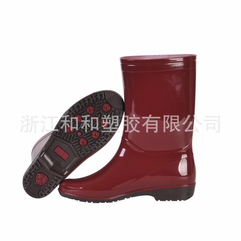 661舒适女靴女款雨鞋加厚pvc一体成型中筒雨靴工作靴定制加工