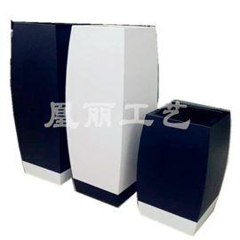 广州厂家定制不锈钢哑光面烤漆黑白花盆花箱 商场装饰方鼓形花箱