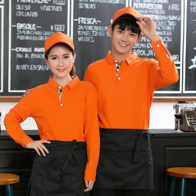 秋冬工作服T恤翻领长袖餐饮快餐店超市广告衫男女服务员定制LOGO