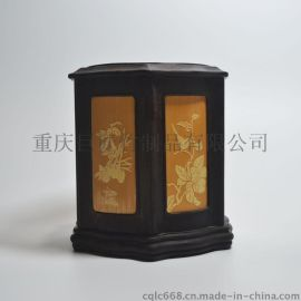 巨匠专业生产定制仿古留青雕刻八角竹笔筒檀木镶嵌工艺礼品文化