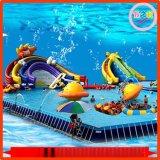 新款大型戶外水上樂園動漫水世界移動支架水池充氣遊泳池