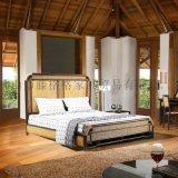 藤格格 9020 厂家批发新古典实木雕花藤双人床现代公主床婚床大床