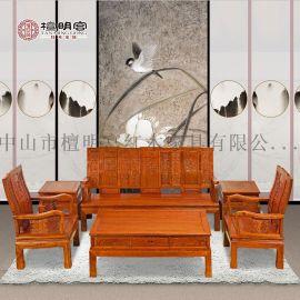檀明宫红木家具紫檀花梨木万字沙发茶几六件套装中式实木沙发组合
